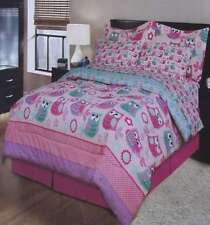 New Polk 00004000 A Dot Owls Pink Full Comforter Sheets Shams Bedskirt 8Pc Bedding Set