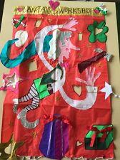 Karen Rossi Collection Decorative Appliqué Flag Santa's Workshop Handcrafted