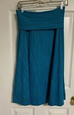 Patagonia Morning Glory Turquoise Skirt Fold Waist Midi A Line Stretch Size S