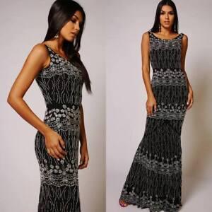 Virgos Lounge Black Fishtail Frill Party Bridesmaid Wedding Maxi Dress UK 6 & 8