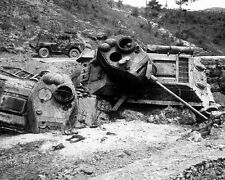 "Red Korean Tanks destroyed after Napalm Bomb Damage 8""x 10"" Korean War Photo 9"
