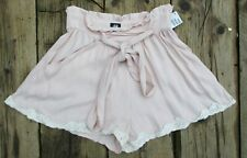 H&M LADIES BLUSH HIGH WAISTED LACE TRIM TIE WAIST LOOSE FIT SHORTS UK 12 BNWT