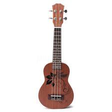 21'' Soprano Ukulele Uke Sapele 15 Frets Musical Instrument Flower Rosewood