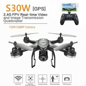 S30W 720P HD Wide Angle Camera GPS Drone FPV RC Quadcopter Wifi Follow Me
