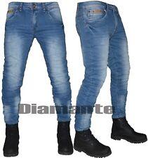 Jeans uomo slim elasticizzato blu Denim pantaloni 5 tasche nuovo YB663