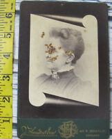 Vintage Antique 1800s Photo Cabinet Card Creepy Old Woman Chicago Illinois