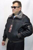 100% REAL SHEEPSKIN SHEARLING LEATHER Bomber G-1 Flight Jacket Coat S-6XL Brown