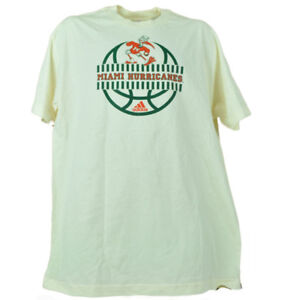 NCAA Miami Hurricanes Cream Large Tshirt Tee Mens Basketball Short Sleeve Canes