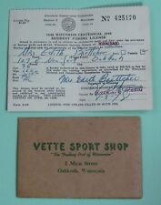 1948 Oshkosh Wisconsin Vette Sport Shop Fishing License Permit w/ Envelope