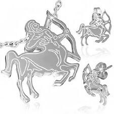 Stainless Steel Sagittarius Zodiac Sign Pendant & Pair of Stud Earrings   s70