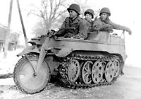 WWII photo American sappers on a captured German Kettenkrad semi-tracked mot a98