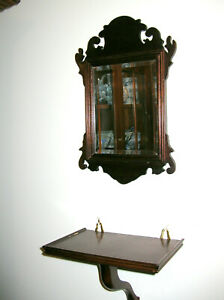 COLONIAL WILLIAMSBURG STYLE CHIPPENDALE MIRROR AND SHELF