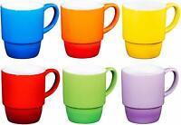 Bruntmor Porcelain Stackable Coffee Cups Mugs Set of 6 - 18 Ounce NEW