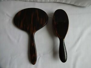 Beautiful Vintage Faux Tortoiseshell Oval Bevelled Hand Mirror and Brush