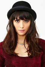 Black Autumn Winter  Women Men Fold Brim Billycock Round Crown Bowler Derby Hat