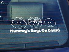 Static Cling Window Car Sign/Decal Mummys Boys on Board 100 x 250mm 3 Boys