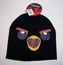 Licensed Rovio ANGRY BIRDS BLACK BIRD KNIT HAT Beanie Ski Skull Cap One Size NEW