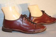 6 NOS Vtg 70s OXFORD TIE  Shoe DARK WINE BROWN BOHO SQUARE TOE HIPPIE FLAT New