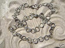 Antiqued Silver ptd Chain Base for Charm Bracelet 7.5 in Handmade in USA , 1 Qty