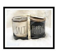 Rae Dunn Salt and Pepper Cellars with Wood Lids and Tray, Black & Ivory Ceramic