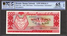 Rwanda 1000 Francs 1964 FIRST Prefix LOW # A 000012 Pick-10a GEM UNC PCGS 65 OPQ