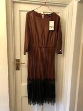 New Zara Woman Brown & Black Fake Leather & Lace Trim Pleated Midi Dress,Medium