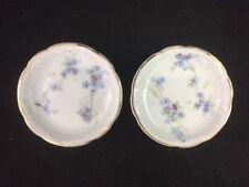 "Set of 2 Rosenthal Louis XIV  R32 Blue & Purple Violets 3"" Butter Pats"