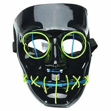 Flash EL Wire Glowing Face Mask for Halloween Christmas Masquerade Costume