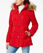 Tommy Hilfiger Womens Hooded Puffer Coat with Faux Fur Trim Large Red
