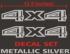 4x4 Truck Bed Decals, Metallic Silver (Set) for 2015 Ford F-150 and Super Duty