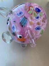 Pink Pig Murano Italian Art Glass Sculpture Millefiori COLOR SPOTS