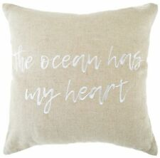 Coastal Home The Ocean Has My Heart Decorative Pillow One Size Natural