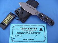 TOPS Baghdad Bullet Knife Blue & Black G-10 1095 Carbon Steel USA