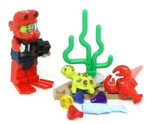 LEGO Minifigure SCUBA DIVER with fins helmet sea turtle lobster treasure hunt