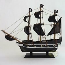 "WOOD MODEL 11.5"" PIRATE SHIP Sailing Boat Corsair Tall Ship Nautical decor"