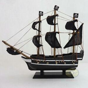 "WOOD MODEL 11.5"" PIRATE SHIP Sailing Boat Corsair Tall Ship Nautical decor"