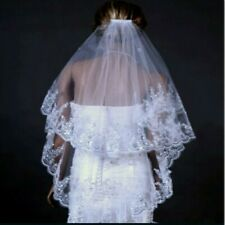 Sposa Matrimonio Velo Gomito 2 Strati Pizzo Avorio Edge Applique Strass Con Comb