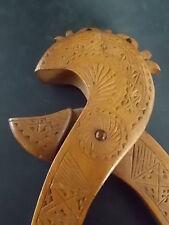Pair Vintage Aboriginal Wooden Nutcrackers Handcarved Decorated Wood Treen