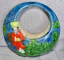 Old Vintage Antique Japanese Banko Porcelain Pottery Hanging Round Pocket Vase