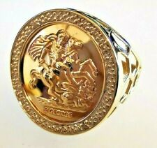 Diamond set St George 9ct gold ring, full hallmark. Free Insured P&P #Mq
