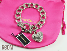 Juicy Couture PAVE BANNER HEART STARTER BRACELET Silver Color