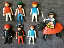 Lot of 8 Vintage 1974 Geobra Playmobil Mixed Figures 7 People and 1 Horse
