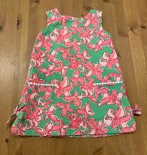 Lilly Pulitzer Girls 2T Lined Pink & Green Butterfly Dress Bows