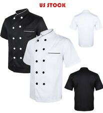 Unisex Short Sleeve Chef Coat Jacket Restaurant Uniform Men Women Cook Customes