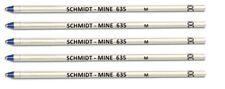 5 Pack GENUINE SCHMIDT MINE 635M D1 Ballpoint Pen Refills 635,  Blue Medium