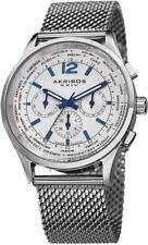 Akribos XXIV AK716SS Swiss Quartz World Time Day Date GMT Mesh Band Mens Watch
