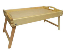 Wooden Lap Tray Breakfast Bed Serving with Folding Legs Table Mate Not Painted