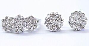 18Kt Circular Diamond Cluster White Gold Earring & Ring 2.26Ct