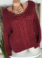NEU ITALY GROBSTRICK PULLOVER PULLI ZOPF MUSTER WOLLE-MIX  V NECK BORDEAUX 36-40