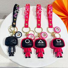 New Listing3D Squid Game Keychain Mini Doll Figurine Car Keychain Squid Game Soldier Doll
